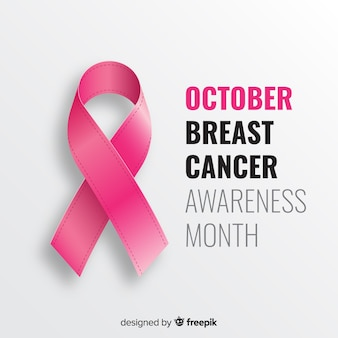 Розовая реалистичная лента для осведомленности о раке молочной железы