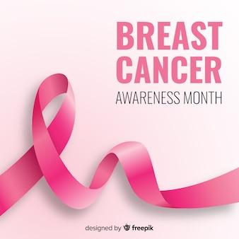 乳がんの意識のためのピンクの現実的なリボン