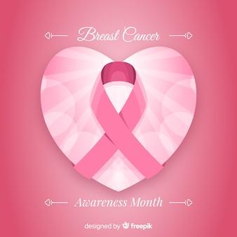 リボンフラットデザインと乳がんの意識