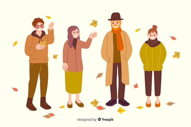 秋の服を着てフラットなデザインの人々
