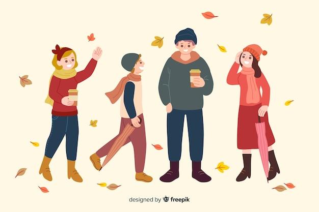 秋の服を着てフラットなデザインキャラクター