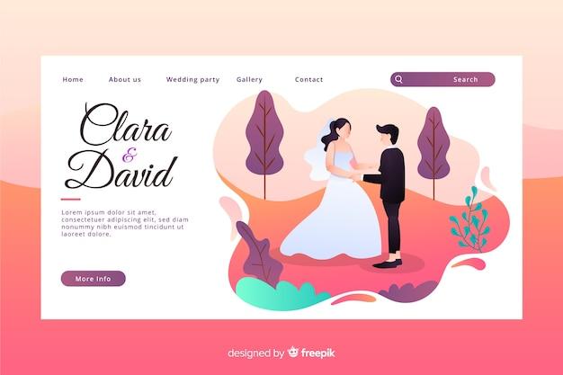 新婚夫婦のキャラクターとフラットなデザインのカラフルな結婚式のランディングページ