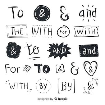かわいい手描きの結婚式の標語のセット