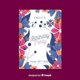 美しい花の誕生日の招待状のテンプレート
