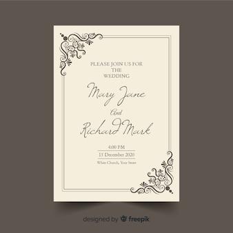 レトロな装飾的な結婚式の招待状のテンプレート