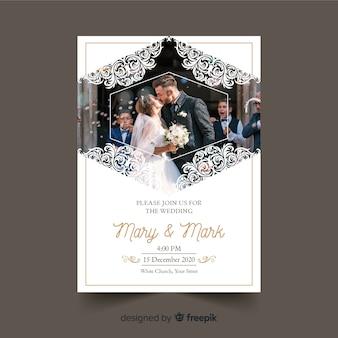 写真の観賞用の結婚式の招待状のテンプレート
