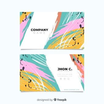 Абстрактный ручной росписью шаблон визитной карточки