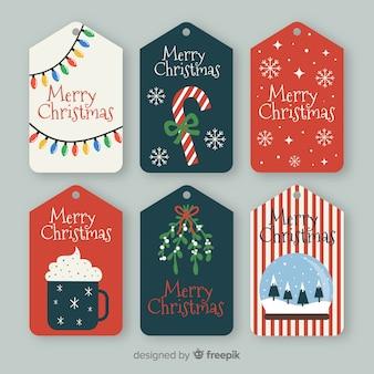 クリスマスバッジコレクションのフラットなデザイン