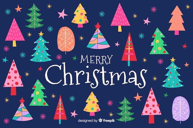 手描きのメリークリスマスの背景