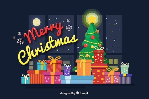 Плоский новогодний фон с елкой и подарками