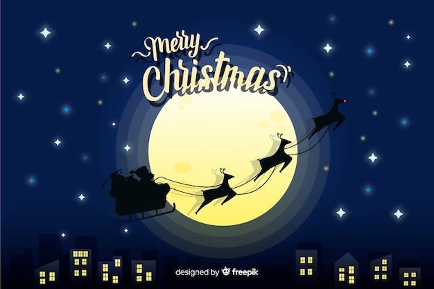 Плоский рождественский фон праздник