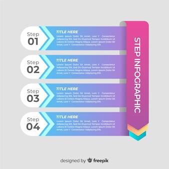 Красочный градиент инфографики шаги