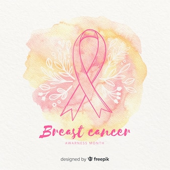 Акварель осведомленности рака молочной железы с лентой