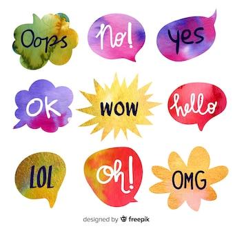 Акварельные речевые пузыри с разными выражениями