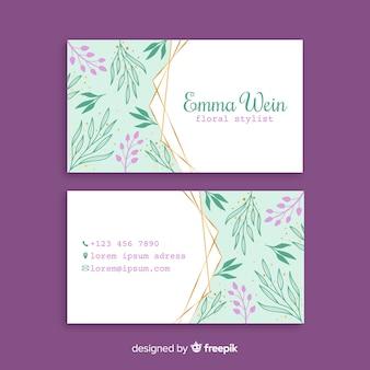 Цветочный шаблон визитной карточки