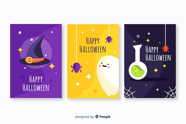 Плоский дизайн коллекции хэллоуин карты