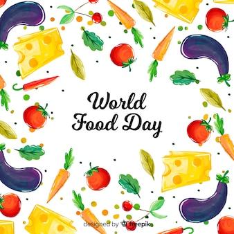 水彩画背景を持つ世界の食糧日コンセプト