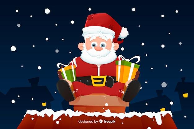 サンタクロースとフラットクリスマス背景