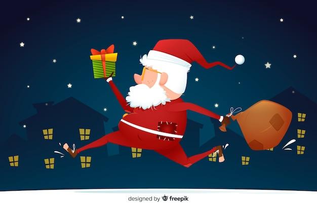 実行しているサンタクロースとフラットなクリスマス背景