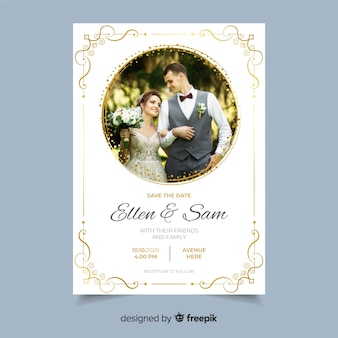 Декоративное свадебное приглашение с фото