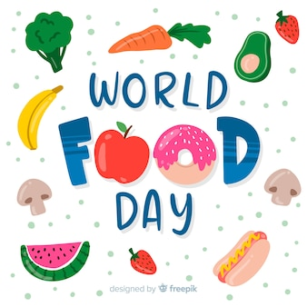 Всемирный день продовольствия концепция с рисованной фоном