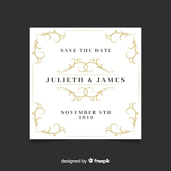 日付の結婚式の招待状を保存