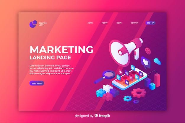 Маркетинговая целевая страница в изометрическом дизайне