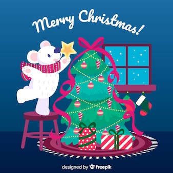 手描きクリスマスツリーとクリスマスの背景