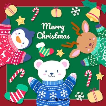 手描きのかわいい動物とクリスマスの背景
