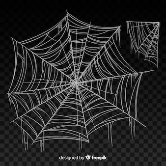 グラデーションで黒の現実的なクモの巣