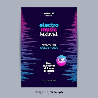 Шаблон плаката электронной музыки с эффектом глитча