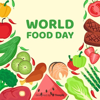 Всемирный день продовольствия концепция с плоским дизайн фона