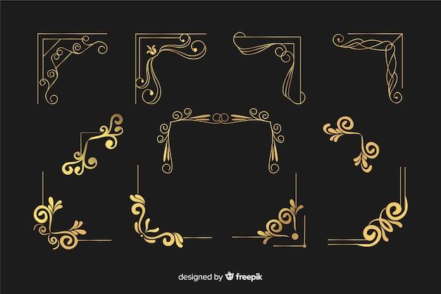 さまざまな形のコレクションと黄金のボーダー飾り