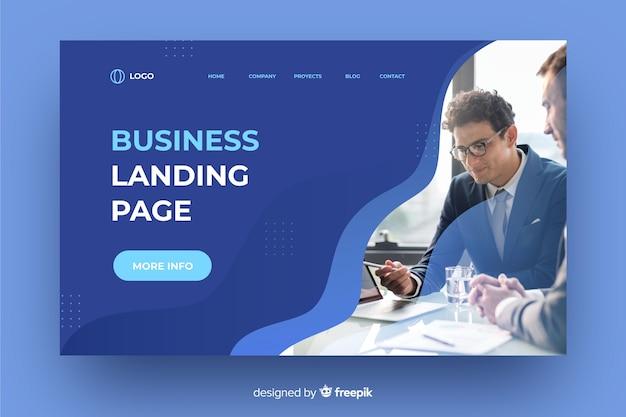 写真付きの流動的なエレガントなビジネスランディングページ