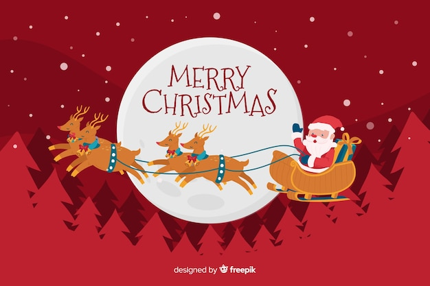 手描きのクリスマス背景にサンタクロースのそり