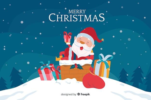手描きのサンタクロースとクリスマスの背景
