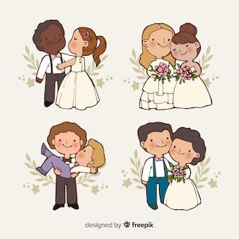 手描きの結婚式のカップルのコレクション