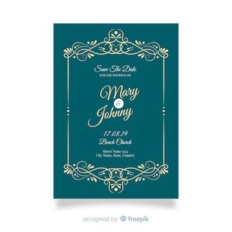 ビンテージ装飾用結婚式招待状のテンプレート