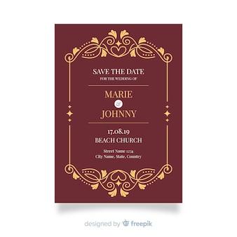 レトロな装飾結婚式招待状のテンプレート