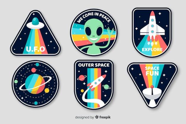 Художественный космический дизайн коллекции стикеров