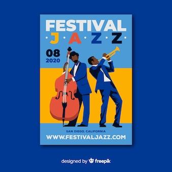 Шаблон постера абстрактной джазовой музыки