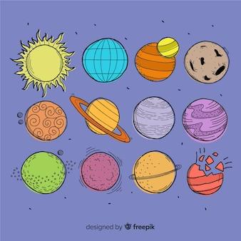 Коллекция рисованной планеты