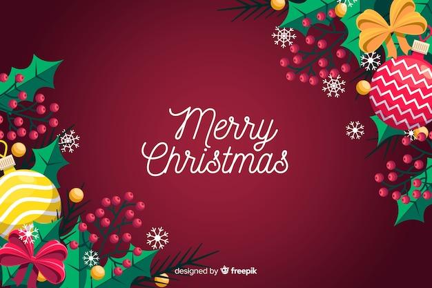 挨拶とフラットクリスマス背景