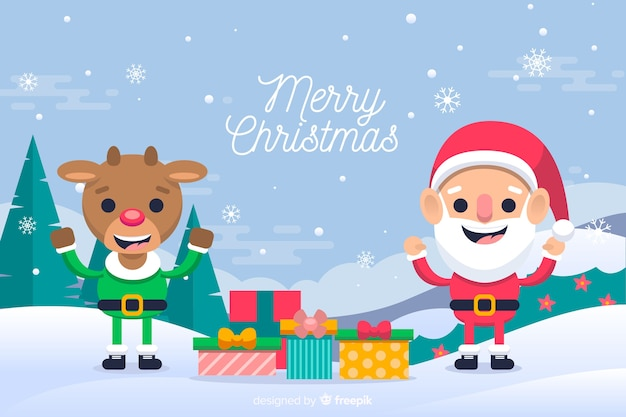 トナカイとクリスマスを祝うサンタクロース