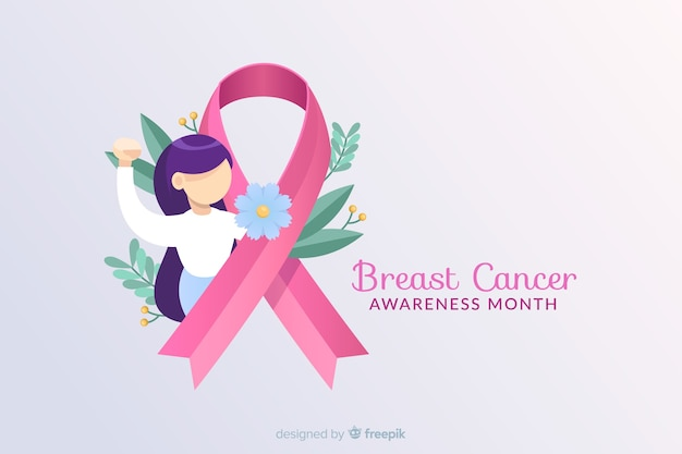 リボンとイラストで乳がんの意識