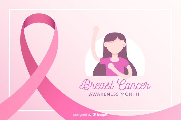 リボンと女の子のイラストと乳がんの意識