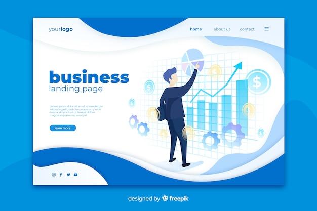 グラフ付きのビジネスランディングページ