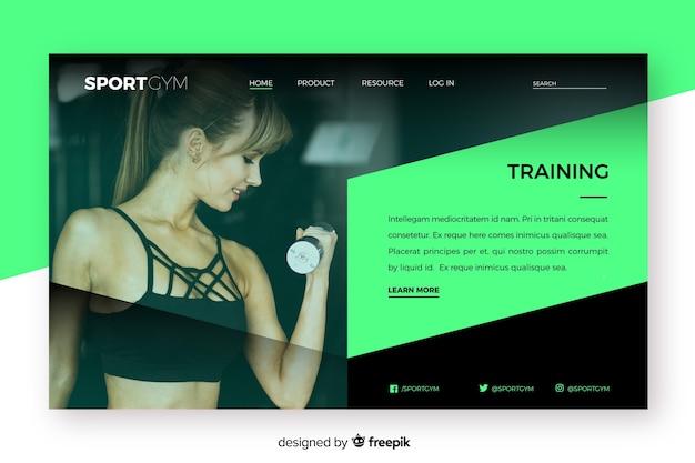 写真付きのスポーツランディングページのトレーニング