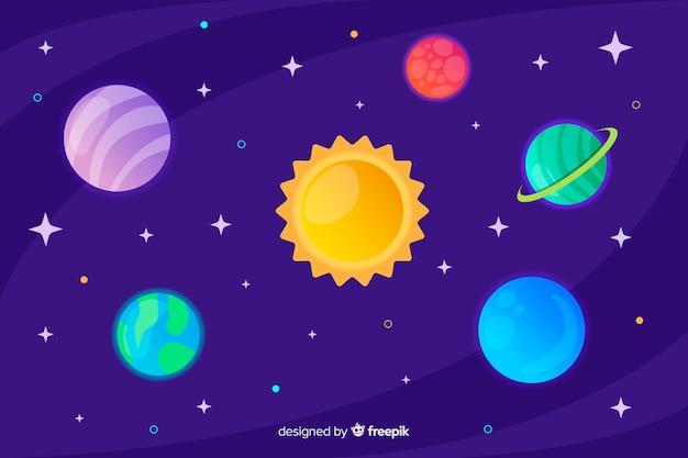 Плоский дизайн коллекции планеты