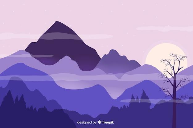 フラットなデザインの山の風景と背景
